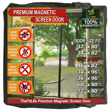 TheFitLife Magnetic Screen Door - Heavy Duty Mesh Curtain with Full Frame Hook and Loop Powerful Magnets that Snap Shut Automatically - Black 38