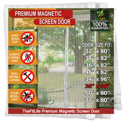TheFitLife Magnetic Screen Door - Heavy Duty Mesh Curtain with Full Frame Hook and Loop Powerful Magnets that Snap Shut Automatically - (White 38''x97'' - Fits doors up to 36''x96'' Max)