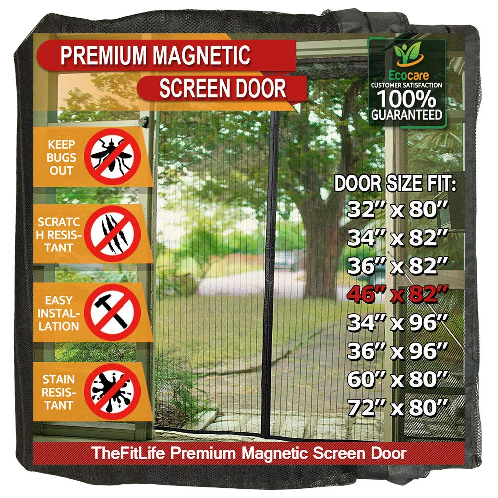TheFitLife Magnetic Screen Door - Heavy Duty Mesh Curtain with Full Frame Hook and Loop Powerful Magnets That Snap Shut Automatically - Black 48