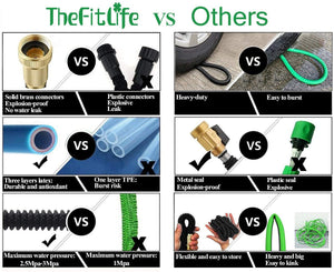 "TheFitLife Flexible and Expandable Garden Hose - Strongest Triple Latex Core with 3/4"" Solid Brass Fittings Free 8 Function Spray Nozzle, Easy Storage Kink Free Water Hose (100 FT)"
