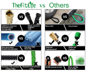 "TheFitLife Flexible and Expandable Garden Hose - Strongest Triple Latex Core with 3/4"" Solid Brass Fittings Free 8 Function Spray Nozzle, Easy Storage Kink Free Water Hose (50 FT)"