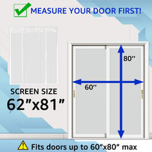TheFitLife Double Door Magnetic Screen - Mesh Curtain with Full Frame Hook & Loop Powerful Magnets, Snap Shut Automatically for Patio, Sliding or Large Door, White Fits Doors up to 60''x80'' Max