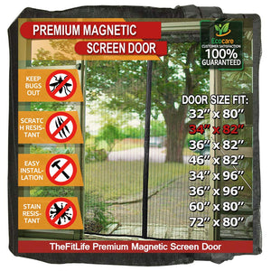 "TheFitLife Magnetic Screen Door - Heavy Duty Mesh Curtain with Full Frame Hook and Loop Powerful Magnets that Snap Shut Automatically - Black 36""x83"" Fits Door Size up to 34""x82"" Max"