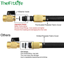 "TheFitLife Flexible and Expandable Garden Hose - Strongest Triple Latex Core with 3/4"" Solid Brass Fittings Free 8 Function Spray Nozzle, Easy Storage Kink Free Water Hose (25 FT)"