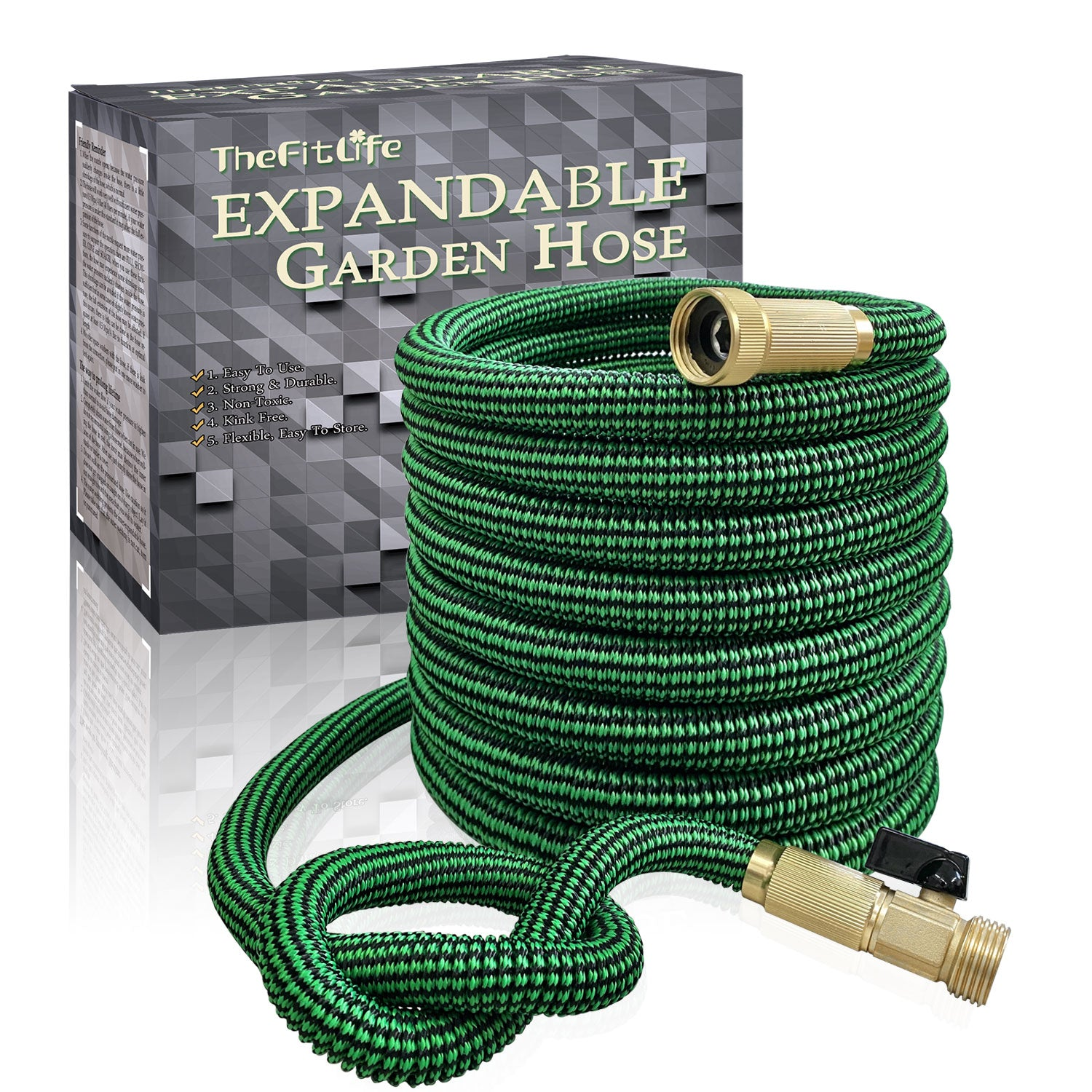 22 Meter Triple Core Latex and Solid Metal Fittings 8 Pattern Spray Nozzle EU Standard Expanding Kink Free Easy Storage Flexible Water Hose-75 Feet TheFitLife Expandable Garden Hose Pipe