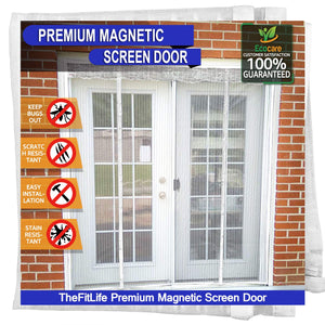 TheFitLife Double Door Magnetic Screen - Mesh Curtain with Full Frame Hook & Loop Powerful Magnets, Snap Shut Automatically for Patio, Sliding or Large Door, White Fits Doors up to 72''x80'' Max