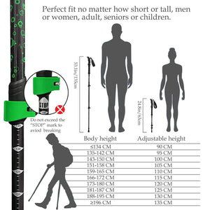 TheFitLife Nordic Walking Trekking Poles – 100% Carbon Fiber Collapsible and Telescopic Walking Poles, 2-Pack, Ultra Light, Walking Sticks for Traveling Camping Hiking Mountaineering