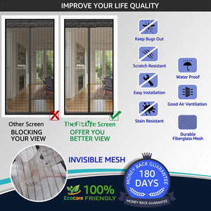 TheFitLife Magnetic Screen Door - Heavy Duty Mesh Curtain with Full Frame Hook and Loop Powerful Magnets That Snap Shut Automatically - Black 74''x81'' - Fits Doors up to 72''x80'' Max