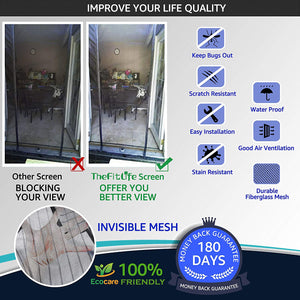 TheFitLife Double Door Magnetic Screen - Mesh Curtain with Full Frame Hook & Loop Powerful Magnets, Snap Shut Automatically for Patio, Sliding Or Large Door, Black Fits Doors up to 72''x80'' Max
