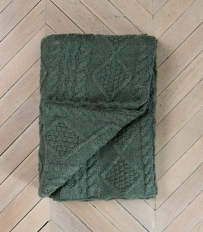 Kiltimagh Green 100% Pure Wool Throw