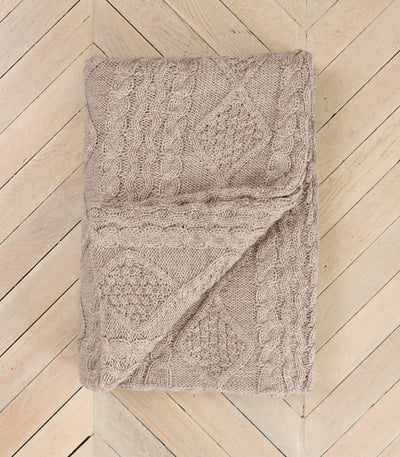 Oatmeal Aran-Knit 100% Pure Wool Throw
