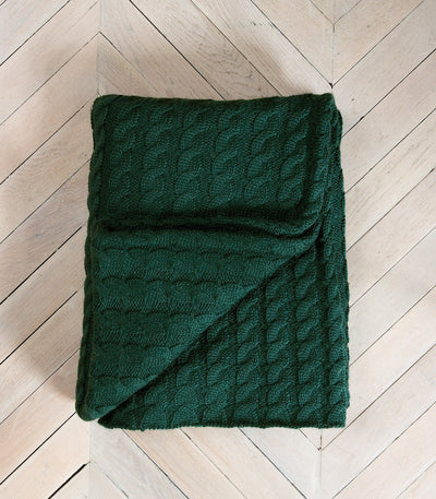 Bottle Green 100% Pure Wool Throw