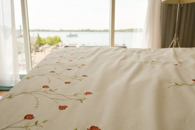 Roses Embroidered Flat Sheet Set