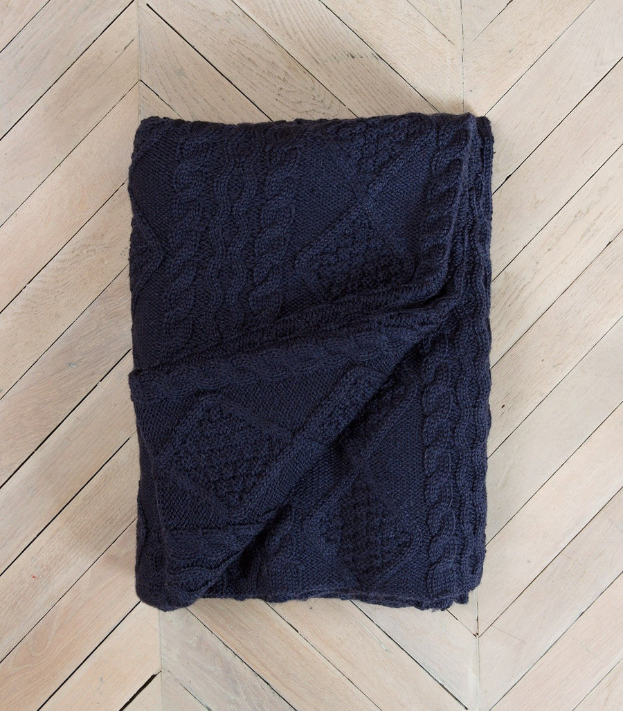 Navy 100% Pure Wool Throw