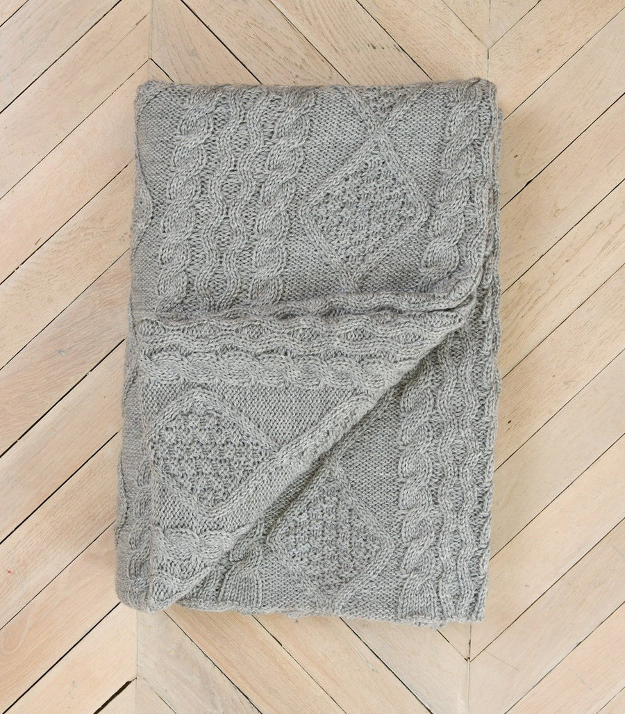 Grey Aran-Knit 100% Pure Wool Throw
