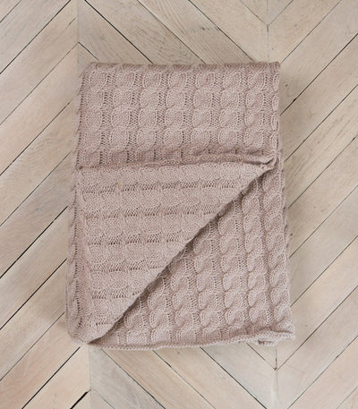 Oatmeal Cable Knitted 100% Pure Wool Throw