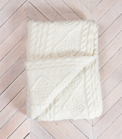 Cream 100% Pure Wool Throw