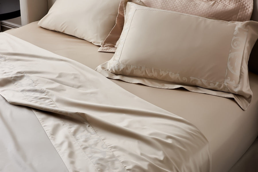 Beige Egyptian Cotton flat sheet set