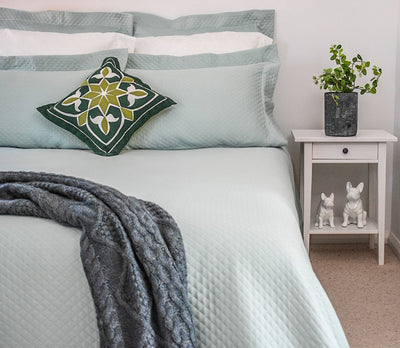 Egyptian Cotton Green Bedspread or Coverlet