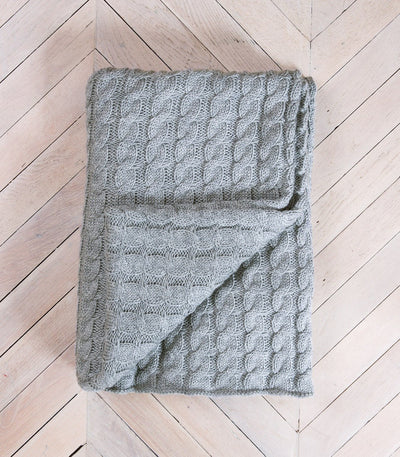 Grey Cable knitted 100% Pure Wool Throw
