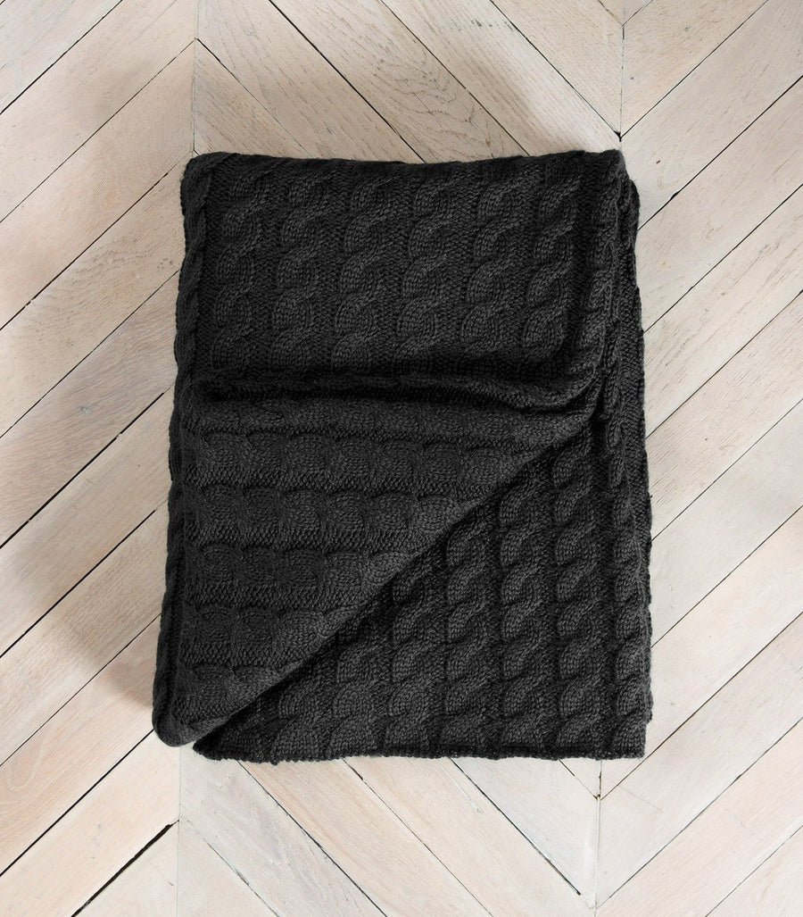 Charcoal 100% Pure Wool Throw