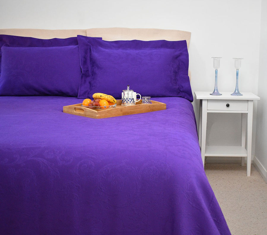 Purple matelasse coverlet bed cover