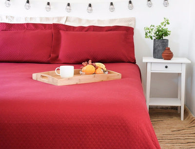 Burgundy Red Modern Bedspread / Coverlet / Blanket