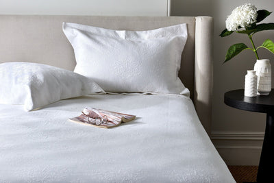 White matelasse bedspread or coverlet made in Egypt