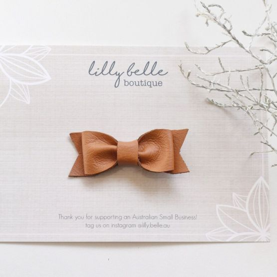 Lilly Belle Classic Tan Leather Bow - Clip or Nylon Band