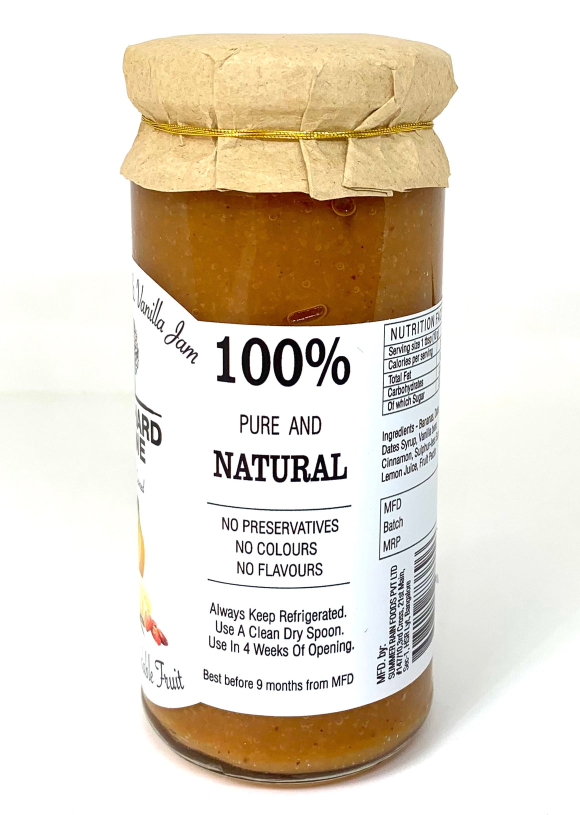 Banana Date Vanilla Jam - 80% Fruit, Low Sugar, No Preservatives, No Added colours or flavours- 285 Grams