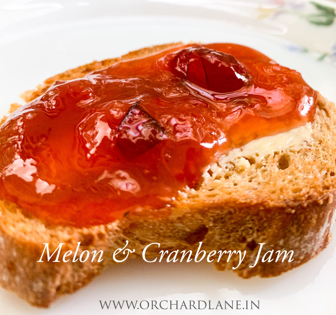 Melon and Cranberry Jam- 80% Fruit, Low sugar, No Preservatives or colours or flavours - 285 grams