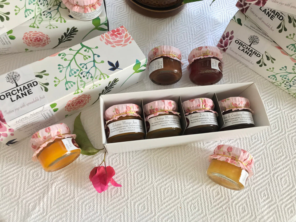 Floral gift box- set of 4 mini jams