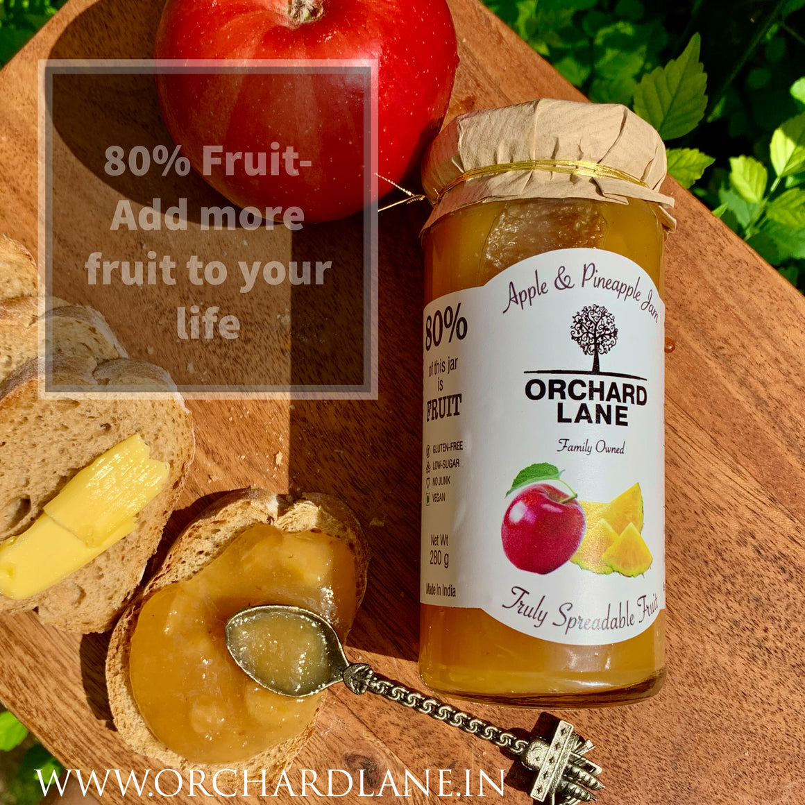 Apple & Pineapple Jam - 80% Fruit, Low Sugar, No Preservatives, No added colours or flavours.