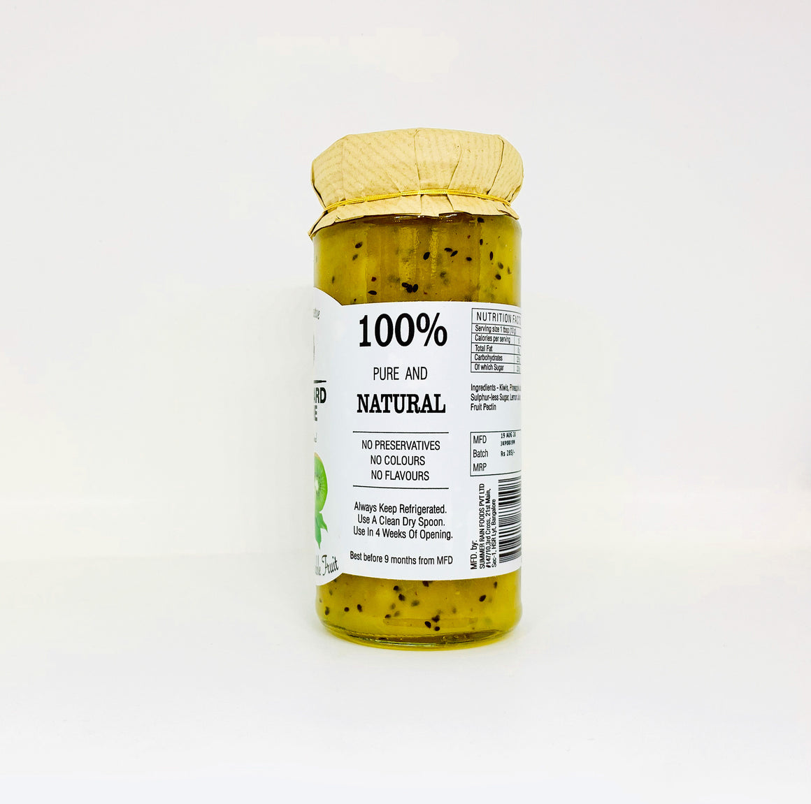 Kiwi Preserve -80% Fruit, No Preservatives, colours or flavours, Low sugar- 280 grams