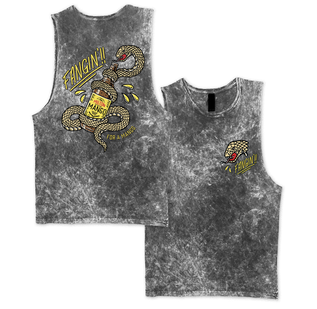 Fangin Muscle Tee Grey Acid Wash