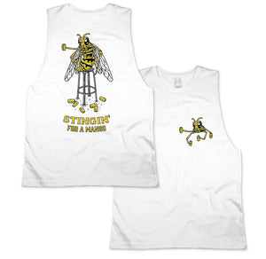 Stingin Muscle Tee White