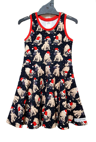 Our Crystals Closet Dresses 3 Christmas Pugs Skater Dress Handmade (CUSTOM ORDER KRYSTAL REYNOLDS)