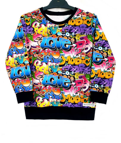 Our Crystals Closet Jumpers Graffiti Sweatshirt Jumper Size 6 Handmade READY TO POST