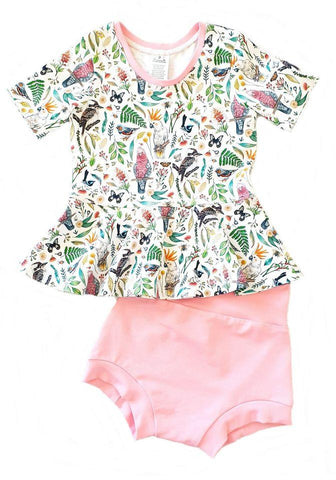 Our Crystals Closet Outfits & Sets 2 Aussie Birds Peplum Top & Bummies Outfit Handmade (CUSTOM ORDER CANDY SCHMIDT)