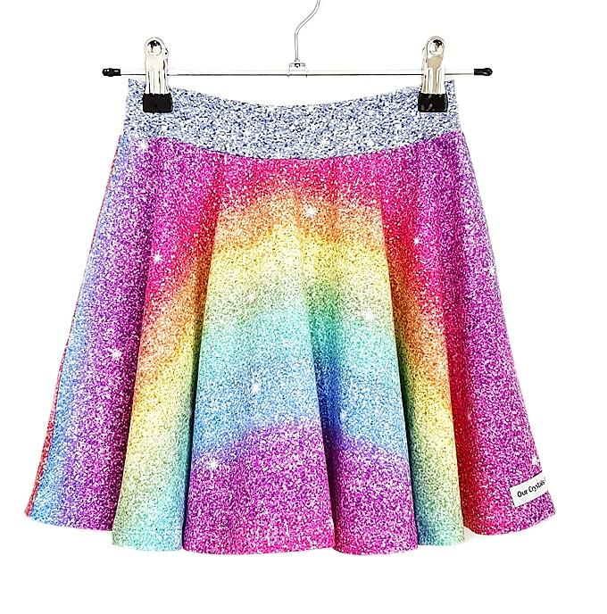 Our Crystals Closet Skirts 6 Rainbow Ombre Glitter Skater Skirt Handmade (CUSTOM ORDER SHANNON DORAN)