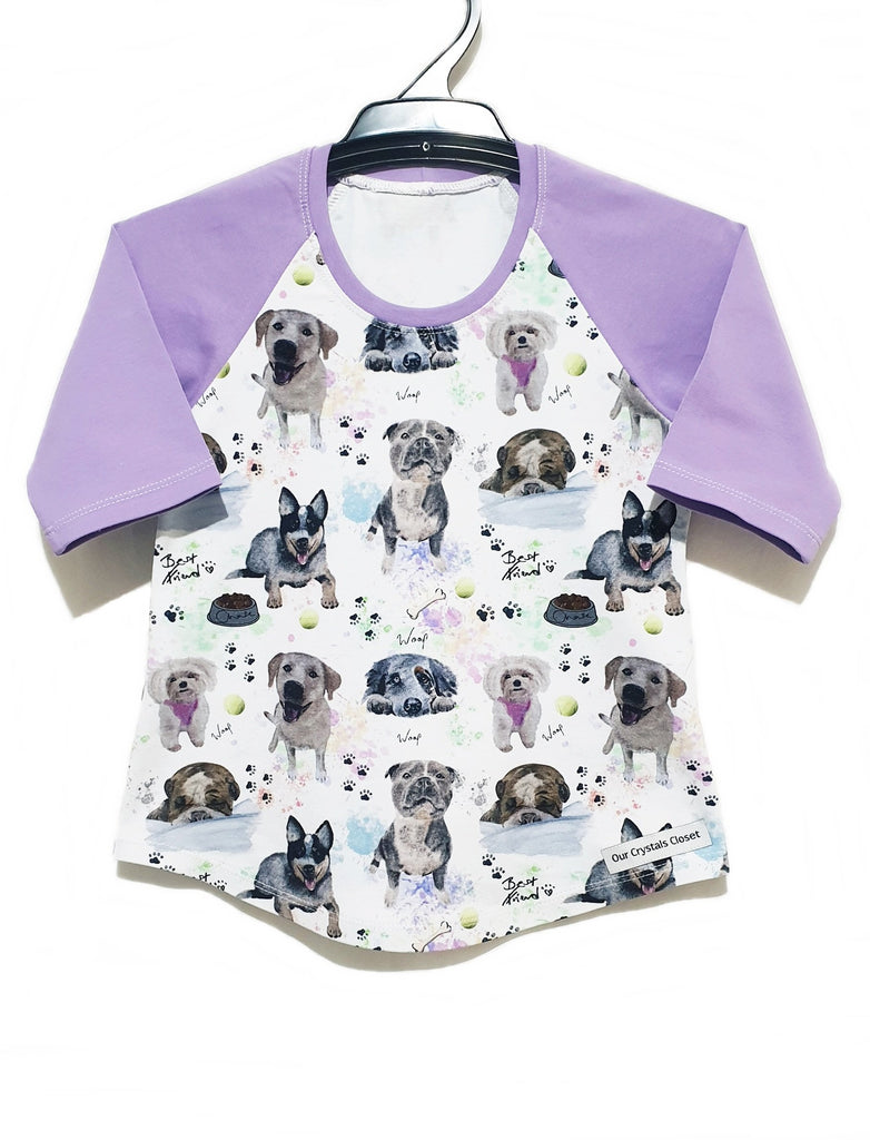 Our Crystals Closet Tops, Shirts & T-Shirts Doggies 3/4 Sleeve Raglan Tee Size READY MADE