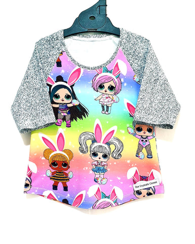 Our Crystals Closet Tops, Shirts & T-Shirts LOL Dolls Easter 3/4 Sleeve Raglan Tee Size 3 Handmade READY TO POST