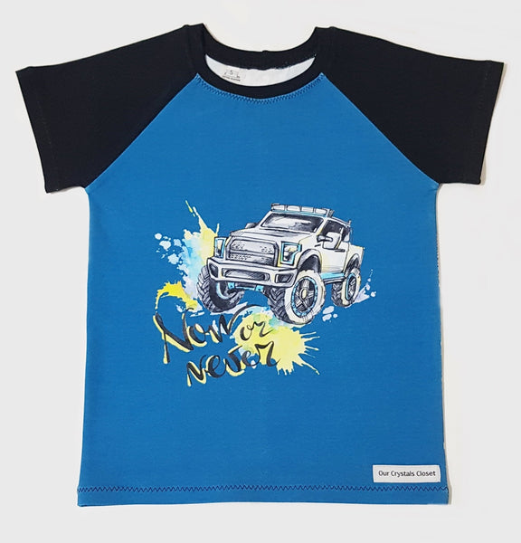 Our Crystals Closet Tops, Shirts & T-Shirts Monster Trucks Raglan T-Shirt Handmade Size 5