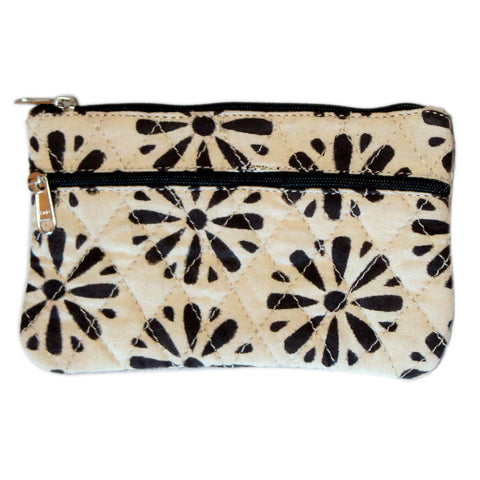 KK2109- Coin Purses - Two Zipper - Kalamkari - Daisy Black