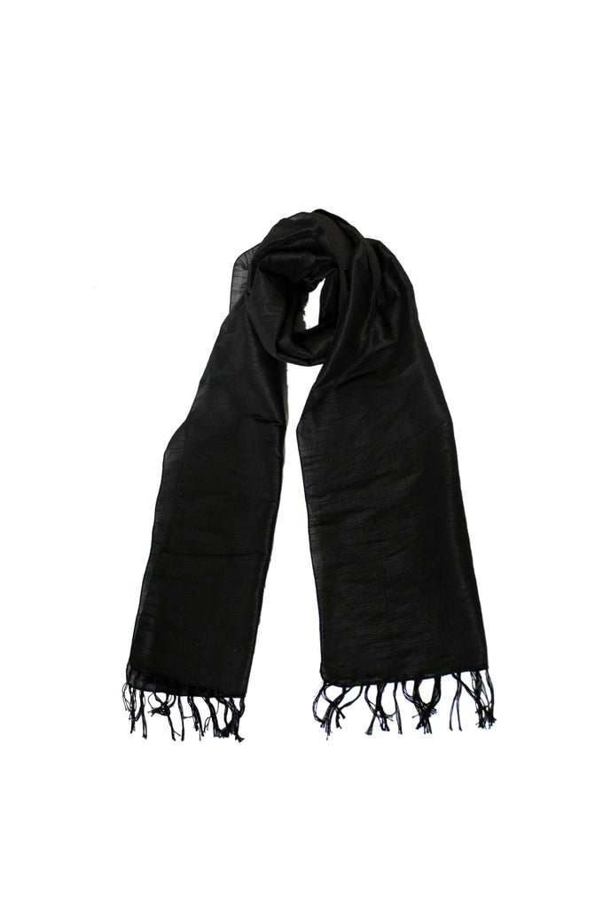 Scarf - Cotton, Art Silk -Black- SK0002