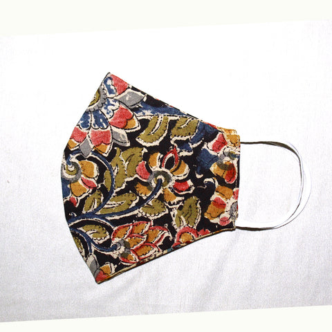 Kalamkari Cotton Mask- Black Flowers (MS0001)