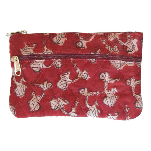 KK2107- Coin Purses - Two Zipper - Kalamkari - Bikes Red