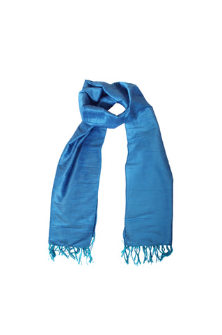 Scarf - Cotton, Art Silk -Teal Blue- SK0004
