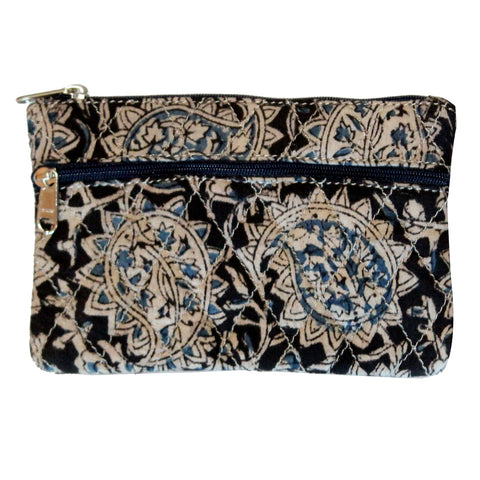 KK2106- Coin Purses - Two Zipper - Kalamkari - Paisley Blue