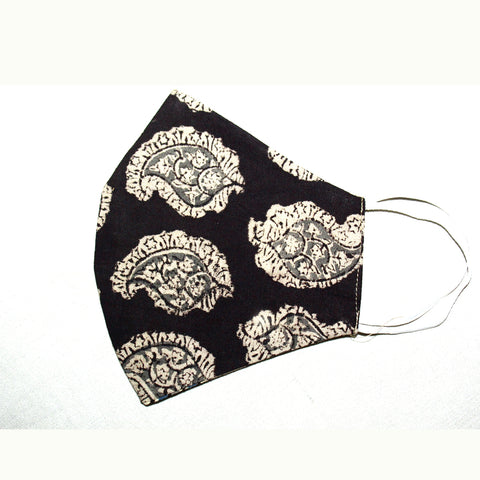 Kalamkari Cotton Mask- Black Paisley (MS0002)